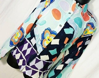 Vintage Colorful Abstract Print Blouse Size M