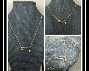 Peace Love Pins/titanium stainless steel/gold/zircon  Safety Pins Necklaces/Solidarity Necklace