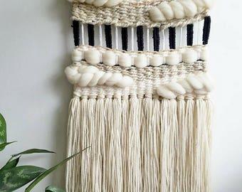 "Woven wall hanging, Textile fiber art ""Glam"""