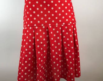 Vintage 1970s Red Polka Dot Knee Length Pleated Skirt White Graff Women's