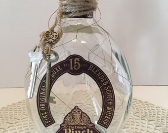 Haig and Haig Markinch Scotland Three Dimple Pinch Whisky Bottle  ~ Altered Bottle ~ Pinch Bottle ~ Mancave ~ Shabby Chic ~ Vintage
