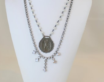 Rhinestone and Watch Fob Assemblage Statement Necklace