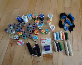 Vintage Lot of Spools with Colored Thread  | Sewing Room Display | Spools of Thread | Spools | Vintage Sewing Supplies