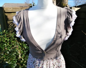 Upcycled Dress 'Pink Confetti' UK size 8 - 10 - US size 4 - 6 - Romantic Wedding Tea Flower Print Lace Short Sleeve V Neck Ruffle Dress