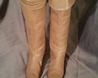 Taupe Leather DVF OTK Boots 9M