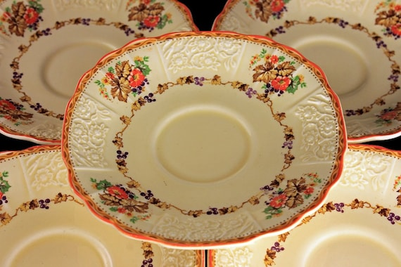 Saucers, Myott Staffordshire, Embossed, Grapes, Flowers, and Leaves, Cream Colored, Hard to Find, Made In England, Set of 5