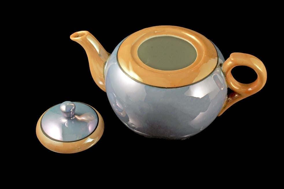 Blue Nippon Lusterware Teapot, Iridescent, Made In Japan