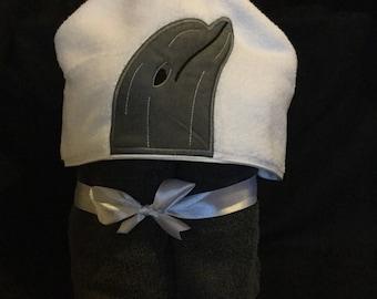 Dolphin Hooded Towel, Grey Dolphin Towel,novelty towel,childrens towel,dolphin towel,hooded towel,grey towel,UK seller