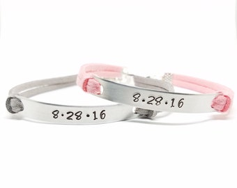 Matching Couples Bracelets   Anniversary Date Bracelets   Couples Jewelry   Personalized His and Her Bracelet   Relationship Jewelry