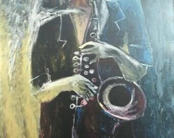 Jazzman figurative impression style stretched canvas print by artist Vantuan 8x10