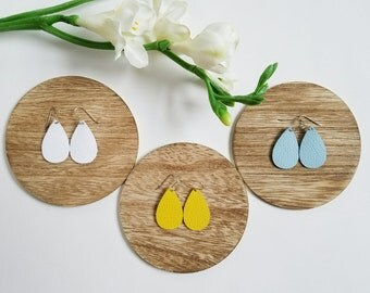Blue Skies and Sunshine Gift set, Leather teardrop earring, mini, statement earring, Light blue, white, yellow