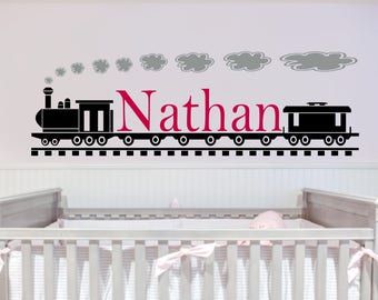 Personalized Train and Name Vinyl Wall  #3 Personalized Decal,Kids Wall Decal,Train Decal, custom wall Decal, Vinyl Wall Decal