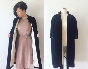 1950s Velvet Opera Coat Size Medium/Large | 50s Black Velvet Swing Coat