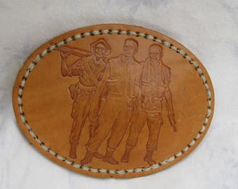 Leather Embossed Buckle, Soldiers on Leather