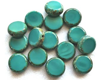 15 teal Czech glass coin, disc beads, flat round beads, turquoise green, beads with a picasso finish 02201