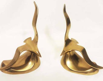 Pair of Mid-Century Modern Brass Seagull Bookends