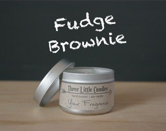 Fudge Brownie Soy Candle Tins With Clear Lid - 2oz, 4oz or 8oz