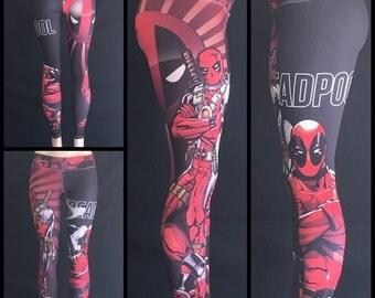 Deadpool Leggings, superhero leggings, fitness leggings, workout leggings, activewear, womens leggings, ladies leggings, deadpool