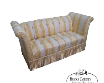 old hickory tannery upholstered tufted settee b