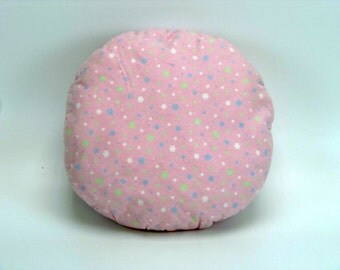 Valentine's Day Gift, Decorative Bed Pillow, Round Pillow, Pink Flannel, Bedroom Decor, College Student Gift, Complete Pillow