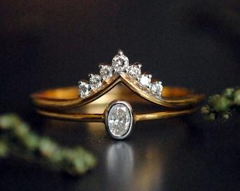 Oval Engagement Ring Set. Wedding Ring Set. 14K Yellow Gold Baby Diamond Engagement Ring. Diamond Chevron V Wedding Band. Diamond Ring Set