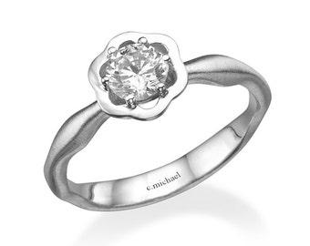 Diamond ring, Diamond engagement ring, 14k white gold, Diamond flower ring, Flower engagement ring, Engagement ring, Floral ring, Rose  ring