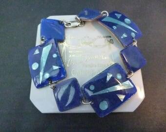 "A stunning and unique blue porcelain bracelet - 925 - sterling silver - 6.5""- Jen Walter - Australia"
