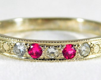 14kt White Gold Ruby and Diamond Wedding Band