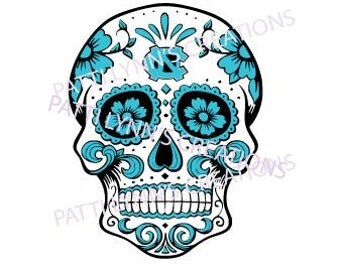 SVG UNC Sugar skull--3 color layer plus logo. each one will be split for you when you download