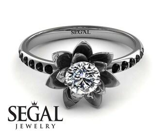Moissanite Engagement Ring White Gold 5mm Moissanite Ring Flower Engagement Ring - Lotus White Gold Moissanite Engagement Ring
