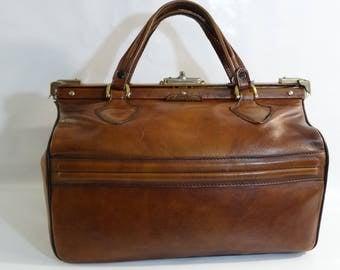 Vintage leather bowling bag