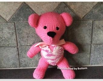 Valentine Bear, Hand Knitted Teddy bear, Pink Teddy Bear, CE Tested bear, UK Seller,Hand knitted teddy,Teddy Bear,