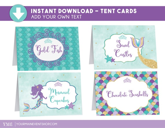 Mermaid Party Tent Cards - Under The Sea Mermaid Food Tent Cards - Mermaid Place Cards Printable Edit Yourself
