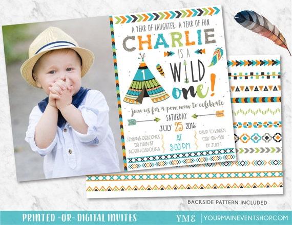 Wild One Invitation • Tribal Adventure Boy TeePee Arrow Feathers Arrow Pow Wow Birthday Invite Printable • Boho Wild and Free