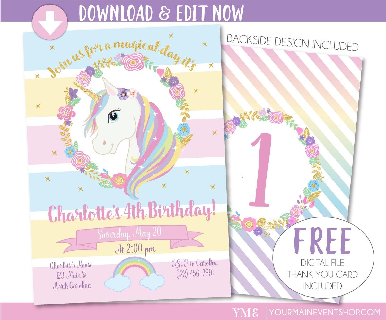 Decisive image intended for printable unicorn birthday invitations