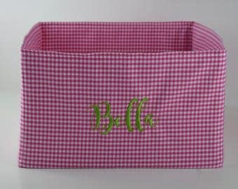 Personalized Basket || Gingham Pet Toy Basket for your Dog or Cat || Pink Blue Green Gingham Puppy Gift  by Three Spoiled Dogs