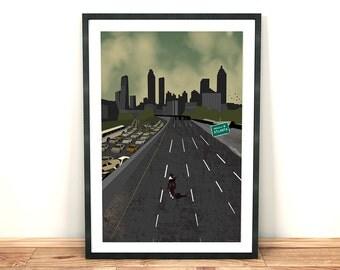 The Walking Dead Inspired Fan Art, ' Atlanta Welcomes You ' Print A3