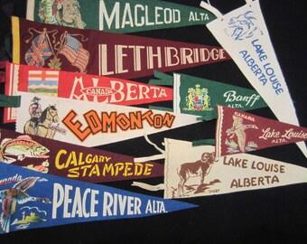 Vintage Felt Travel Pennants - Alberta - MacLeod, Lethbridge, Peace River, Lake Louise, Edmonton, Calgary, Banff