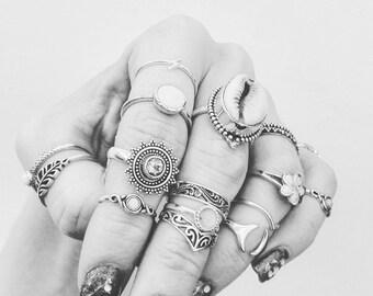Snowy Sky Topaz Bohemian Star Sterling Silver Ring