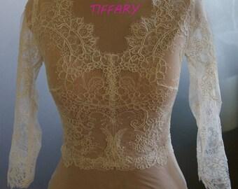Wedding bolero, jacket of lace, long or 3/4 sleeve,  alencon . Unique beautiful, romantic bridal jacket, bolero NORMA