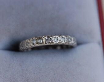 Captivating 18 Carat White Gold Diamonds Eternity Wedding Ring.