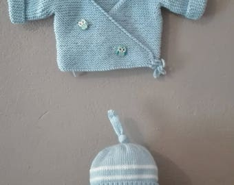 set bra top hat and booties 0/3 months