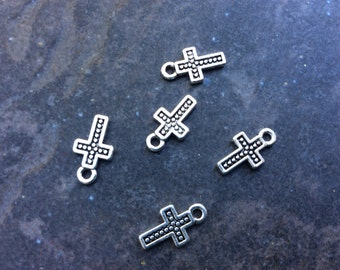 Cross charms package of 5 Half inch charms Rosary Charms Religious Charms Adjustable Bangle Charms