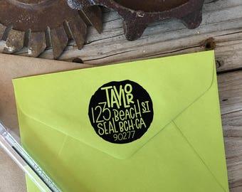 Custom Rubber Stamp Design, FUN & FUNKY EDGES, Return Address, Rubber Stamp, Modern Calligraphy Wood Stamp, Hand Lettered Stamp