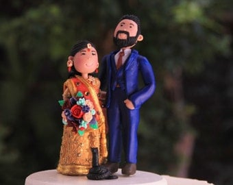 Hindu Wedding - Couple with arms around each other, with pet snake . Handmade. Fully customizable. Unique keepsake Wedding cake topper.