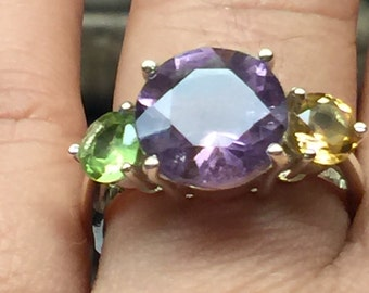 Natural 4ct Purple Amethyst , Citrine, Peridot 925 Solid Sterling Silver 3-Stone Ring sz 6.75