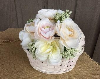 Baby shower arrangement/ baby shower centerpiece/ centerpiece for baby shower/ rattan cradle roses centerpiece/ antique roses arrangement