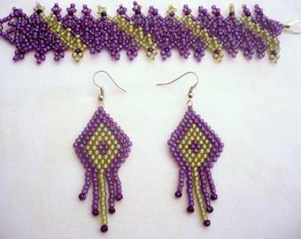 purple-turquoise japanese toho beadwork bracelet-earrings set, seed bead crystal bracelet, two-layer beadwork bracelet,netted bracelet set