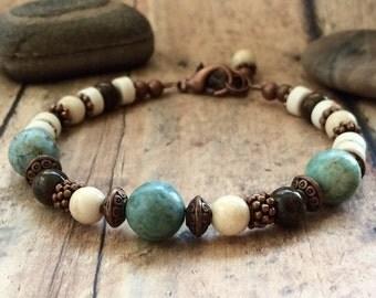 Chrysocolla Bracelet, Gemstone Bracelet, Yoga Jewelry, Anxiety Relief Bracelet, Boho Bracelet , Bohemian Beaded Bracelet.