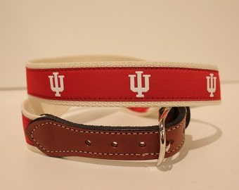 Indiana University Men's  Web Leather Belt